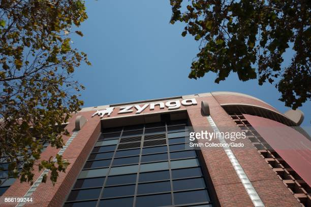 Sign with logo at the headquarters of social gaming company Zynga in the South of Market neighborhood of San Francisco California October 13 2017...