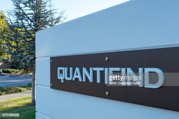 Sign with logo for social listening and signal data extraction company Quantifind in Silicon Valley Menlo Park California November 14 2017