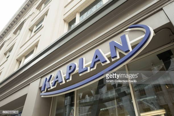 Sign with logo on facade of a Kaplan standardized test preparation center in the South of Market neighborhood of San Francisco California October 13...