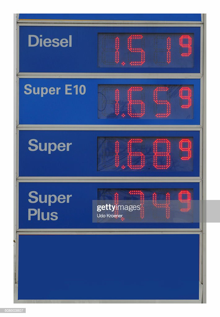 Sign with petrol prices at a petrol station, Germany, Europe : Stock Photo