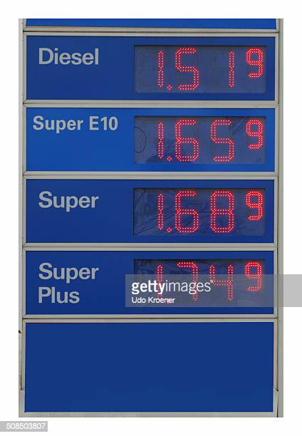 Sign with petrol prices at a petrol station, Germany, Europe