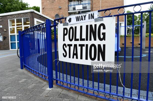 A sign with 'Polling Station' is seen during voting in the General Election in London United Kingdom on June 08 2017