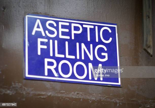 Sign with the label 'Aseptic Filling Room' at beverage manufacturer Kevian Kenya Ltd on May 18 2017 in Thika Kenya