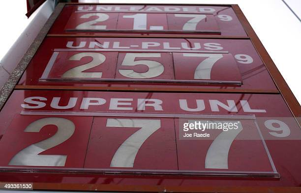 A sign with the prices per gallon of gas is seen at a UGas station on October 19 2015 in Miami Florida As gas prices remain low across the nation a...