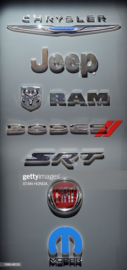 Sign with the varous divisions of Chrysler at the 2013 North American International Auto Show in Detroit, Michigan, January 15, 2013. Top to bottom, Chrysler, Jeep, Ram, Dodge, SRT, Fiat, Mopar. AFP PHOTO/Stan HONDA