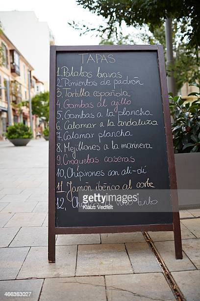 Sign with traditional spanish tapas