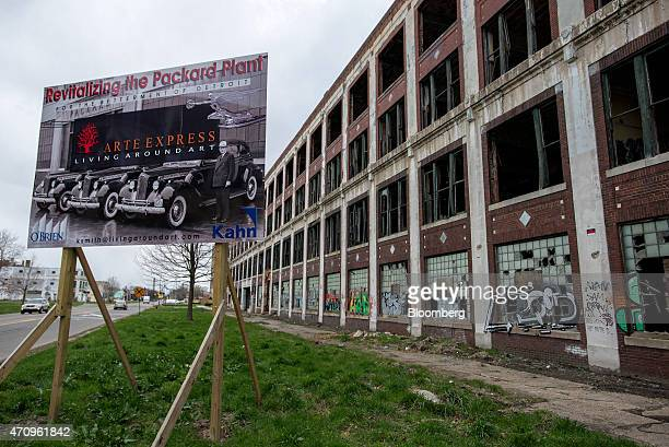 Signage advertising Arte Express Detroit LLC's development plan stands at the site of the abandoned Packard auto assembly plant in Detroit Michigan...