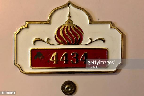 Signage and branding found in rooms and hallways reminds of the previous occupancy of the former Trump Taj Mahal Casino and resort in Atlantic City...