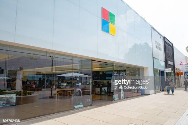 Signage and logo for Microsoft retail store at the Stanford Shopping Center an upscale outdoor shopping mall in the Silicon Valley town of Stanford...