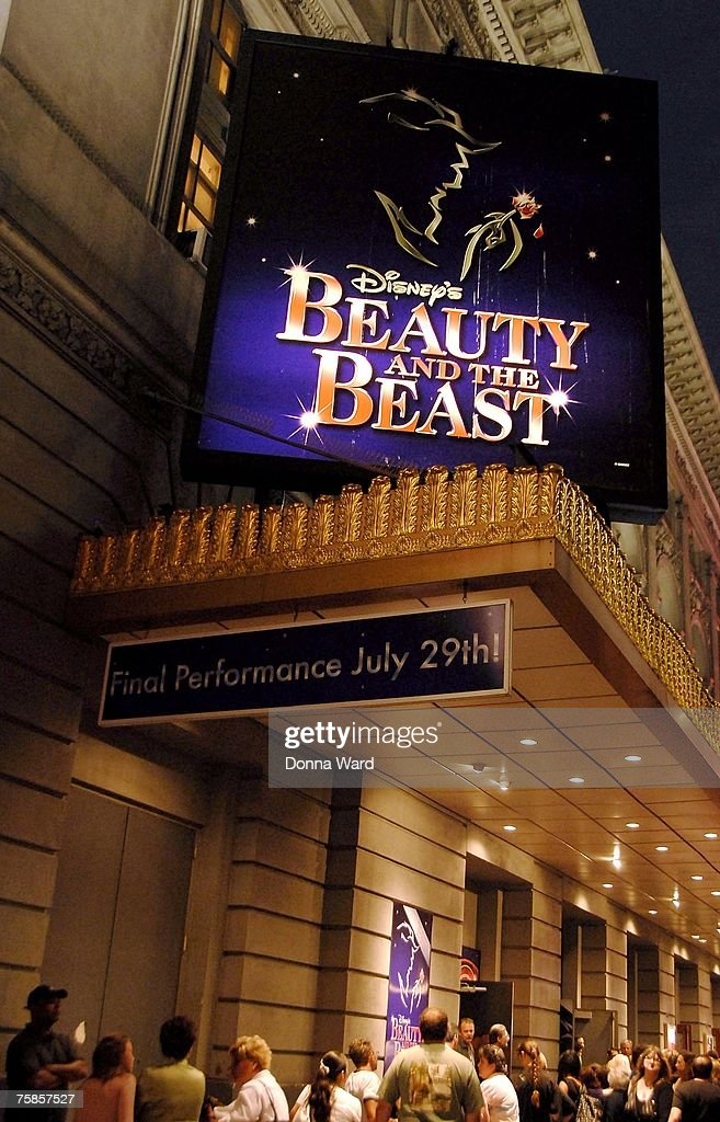 Signage and patrons are seen outside the theater on the final night of 'Beauty And The Beast' at the LuntFontanne Theatre on July 29 2007 in New York...