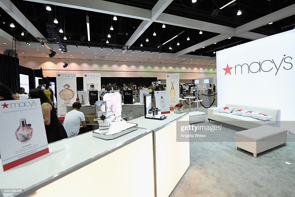 Signage and products from Macy's are displayed at FAN FEST during the 2016 BET Experience on June 25, 2016 in Los Angeles, California.