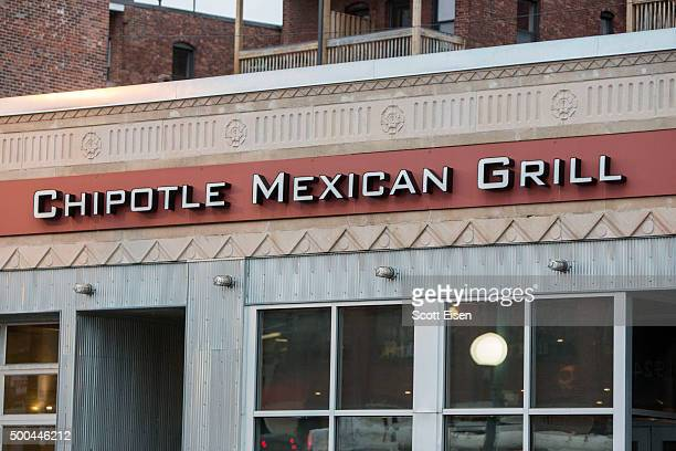 Signage at Chipotle Mexican Grill seen at 1924 Beacon St on December 8 2015 in Boston Massachusetts According to Boston College spokesman 80 students...