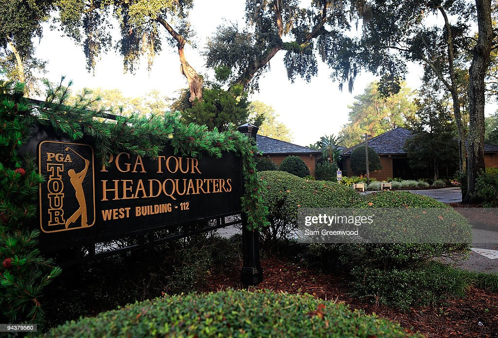 Signage at PGA Tour Headquarters on December 13, 2009 in Ponte Vedra Beach, Florida. Tiger Woods announced that he will take an indefinite break from professional golf to concentrate on repairing family relations after admitting to infidelity in his marriage. The PGA TOUR issued a statement supporting Woods' decision.