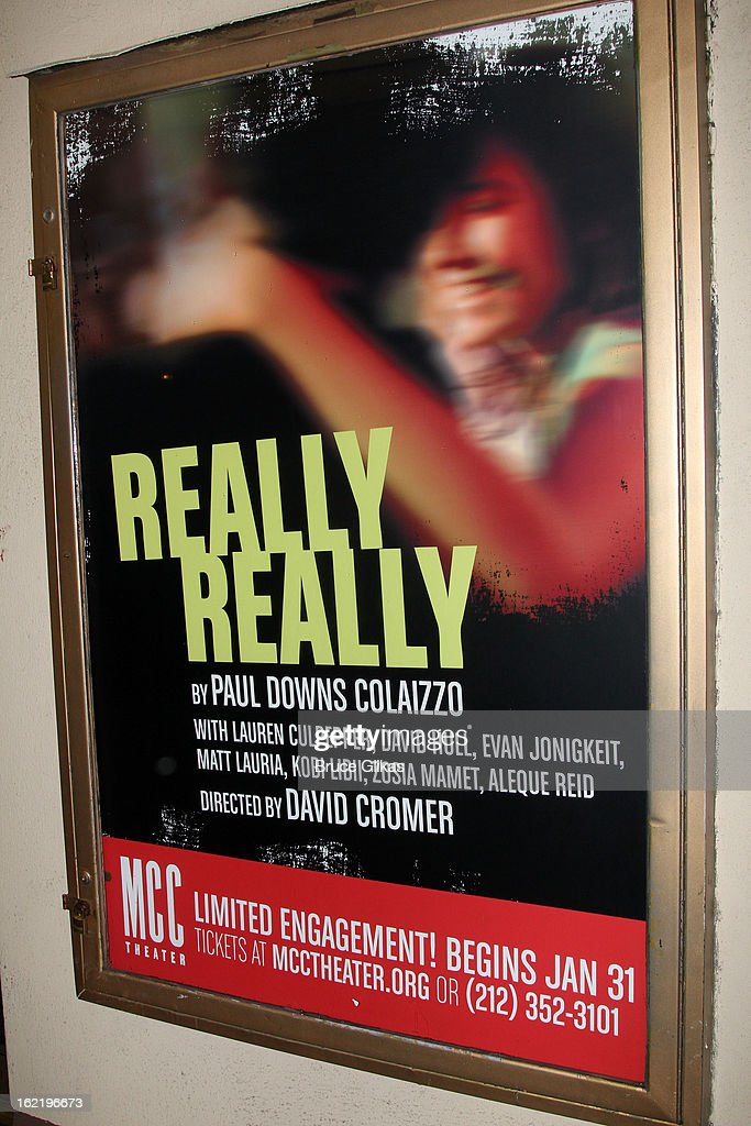 Signage at 'Really, Really' on Opening Night at the Lucille Lortel Theatre on February 19, 2013 in New York, United States.