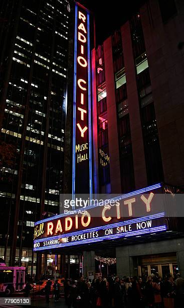 Signage at the 75th Season of the Radio City Christmas Spectacular opening night on November 13 at Radio City Music Hall in New York City
