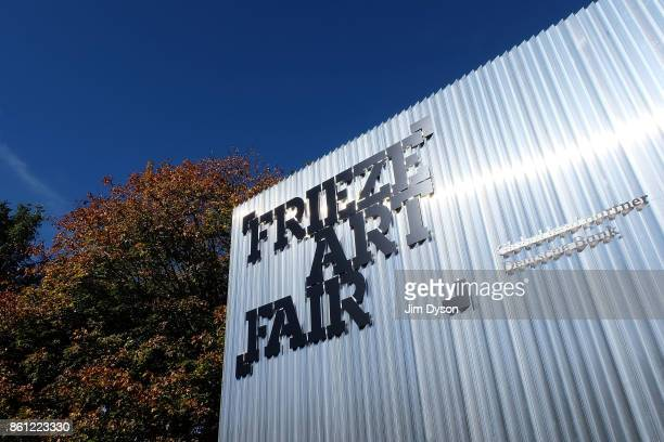 Signage at the entrance to the Frieze Art Fair in Regents Park on October 6 2017 in London