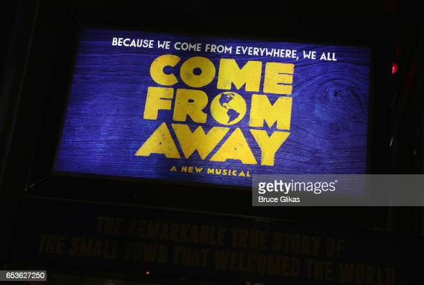 Signage at the hit musical 'Come from Away' on Broadway at The Schoenfeld Theatre on March 15 2017 in New York City