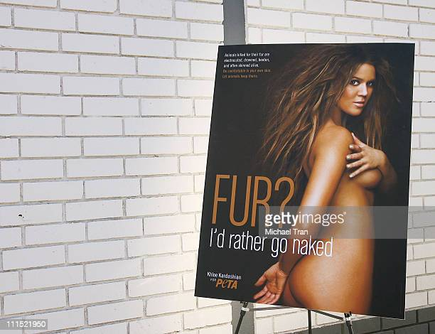 Signage at the unveiling of PETA's new billboard of Khloe Kardashian held at Melrose Avenue and North Harper Avenue on December 10 2008 in Hollywood...