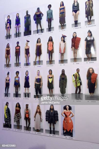 Signage backstage for the Chromat collection during New York Fashion Week The Shows at Gallery 3 Skylight Clarkson Sq on February 10 2017 in New York...