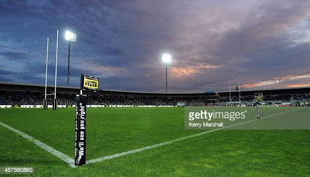 ITM signage before the ITM Championship semifinal between Hawkes Bay and Northland at McLean Park on October 17 2014 in Napier New Zealand