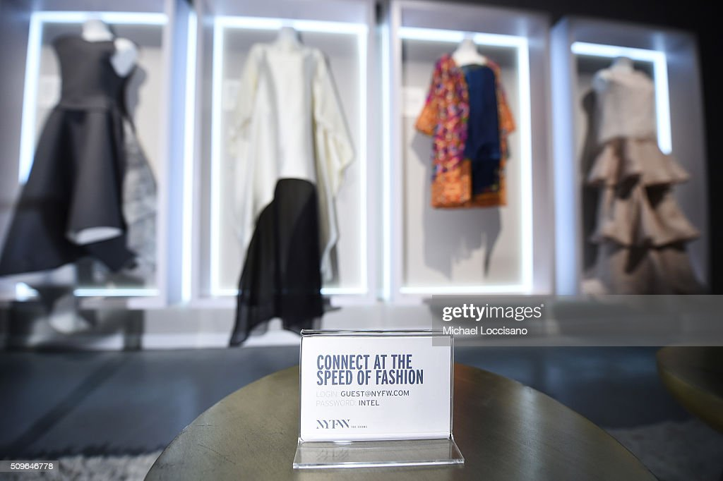 Signage displayed at Fall 2016 New York Fashion Week at the Skylight at Clarkson sq on February 11, 2016 in New York City.