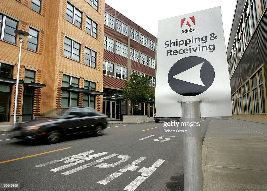 Signage for Adobe's Freemont offices is seen April 18, 2005 in Seattle, Washington. Adobe Systems Inc., one of the world?s largest providers of document-design software, will acquire Macromedia Inc. in an all-stock transaction valued at approximately $3.4 billion, the companies announced today.