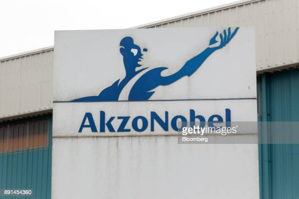 Signage for Akzo Nobel India Ltd is displayed outside a factory operated by the company in Gwalior Madhya Pradesh India on Thursday June 1 2017 Akzo...