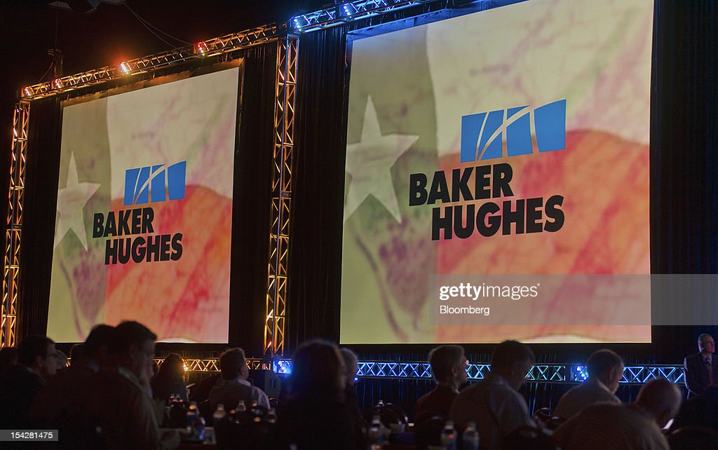 Signage for Baker Hughes Inc. is displayed before a keynote address at the DUG Eagle Ford Conference & Exhibition in San Antonio, Texas, U.S., on Monday, Oct. 15, 2012. Marathon Oil Corp., the U.S. oil and natural gas producer that spun off its refining business last year, is seeking to sell more than 96,000 net acres in the Eagle Ford formation in Texas. Photographer: Eddie Seal/Bloomberg via Getty Images
