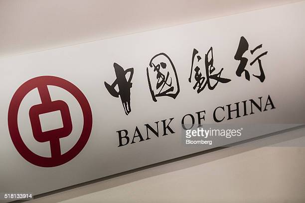Signage for Bank of China Ltd is displayed at a news conference in Hong Kong China on Wednesday March 30 2016 Bank of China the nation's...