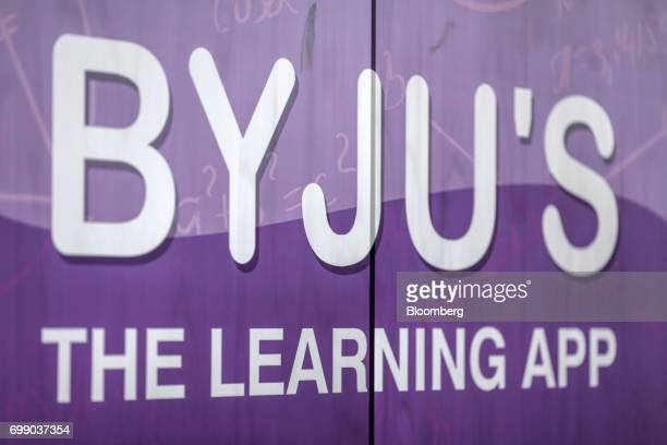 Signage for BYJU'S learning app is displayed at the Think and Learn Pvt office in Bengaluru India on Wednesday April 5 2017 Online learning is...