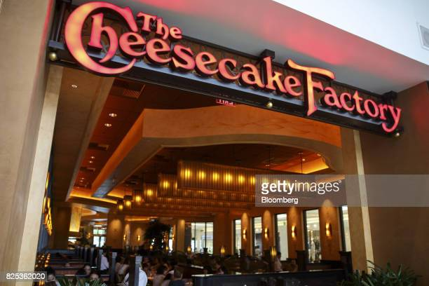 Signage for Cheesecake Factory Inc is displayed inside of a restaurant in the Canoga Park neighborhood of Los Angeles California US on Tuesday Aug 1...