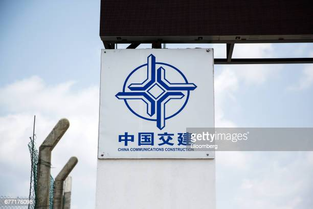 Signage for China Communications Construction Co stands outside the Colombo Port City development in Colombo Sri Lanka on Friday April 21 2017 Once...