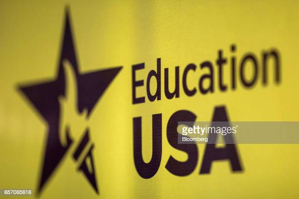 Signage for Education USA is dispalyed on a wall at the United StatesIndia Education Foundation in Mumbai India on Wednesday March 8 2017 For decades...