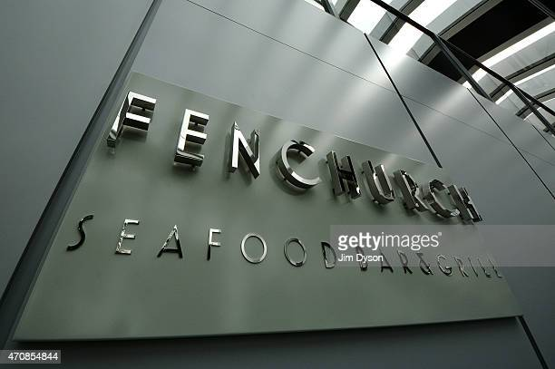Signage for Fenchurch Seafood Bar Grill in the Sky Garden of 20 Fenchurch Street on April 22 2015 in London England Number 20 Fenchurch Street in the...