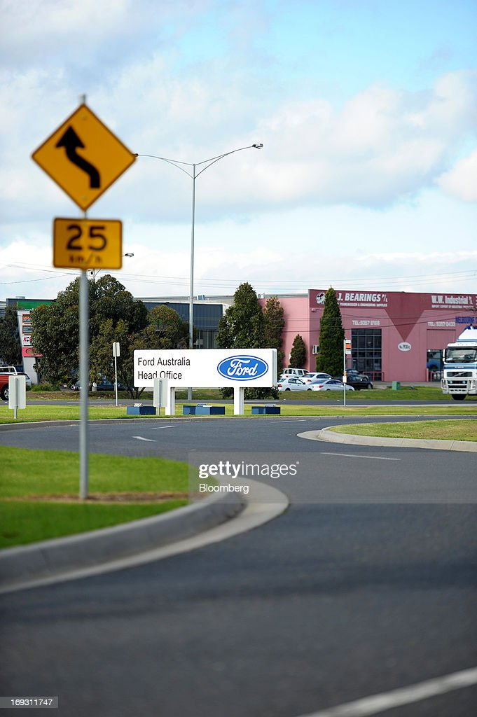 Signage for Ford Motor Co.'s Australia head office stands by the side of a road in Melbourne, Australia, on Thursday, May 23, 2013. Ford will stop making cars in Australia, nine decades after founder Henry Ford first began building Model Ts in the country, as a surge in the currency undermines the local industry's ability to compete with imports. Photographer: Carla Gottgens/Bloomberg via Getty Images