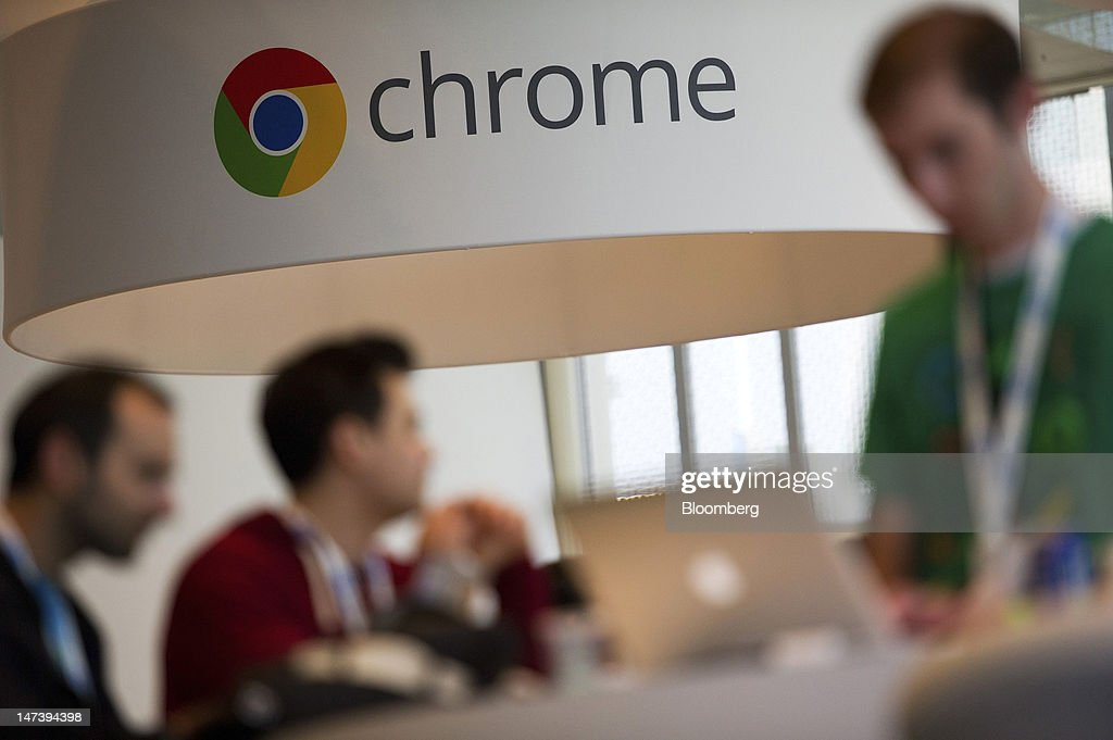 Signage for Google Inc.'s web browser Chrome is displayed at the Google I/O conference in San Francisco, California, U.S., on Thursday, June 28, 2012. Google Inc., owner of the world's most popular search engine, unveiled a cloud-computing service for building and running applications to help woo customers and challenge Amazon.com Inc.'s Web Services. Photographer: David Paul Morris/Bloomberg via Getty Images