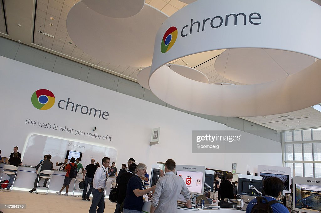 Signage for Google Inc.'s web browser Chrome is displayed during the Google I/O conference in San Francisco, California, U.S., on Thursday, June 28, 2012. Google Inc., owner of the world's most popular search engine, unveiled a cloud-computing service for building and running applications to help woo customers and challenge Amazon.com Inc.'s Web Services. Photographer: David Paul Morris/Bloomberg via Getty Images