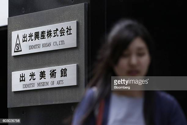 Signage for Idemitsu Kosan Co is displayed outside a building which houses the company's headquarters in Tokyo Japan on Wednesday Aug 10 2016 At an...