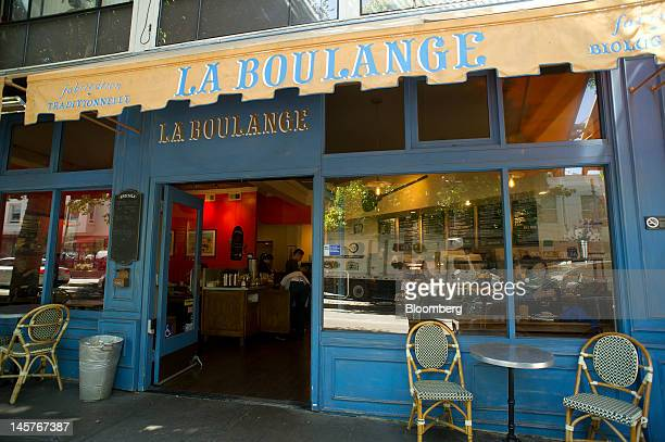 Signage for La Boulange cafe is displayed on the facade and awning of a cafe in San Francisco California US on Tuesday June 5 2012 Starbucks Corp the...