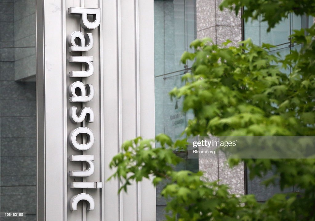 Signage for Panasonic Corp. is displayed outside the company's Tokyo headquarters in Tokyo, Japan, on Friday, May 10, 2013. Panasonic Corp. forecast annual profit that missed analyst estimates after Japan's second-biggest television maker continued to lose market share to Samsung Electronics Co. and LG Electronics Inc. Photographer: Tomohiro Ohsumi/Bloomberg via Getty Images
