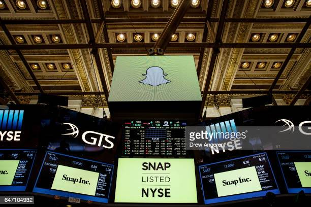 Signage for Snap Inc parent company of Snapchat is displayed on monitors on the floor New York Stock Exchange before the opening bell March 2 2017 in...