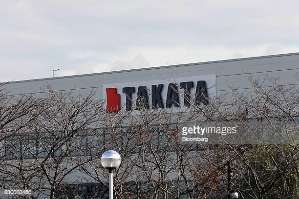 Signage for Takata Corp is displayed at the company's Echigawa plant in Echigawa Shiga Japan on Friday Nov 25 2016 Takata's selection of a bidder is...