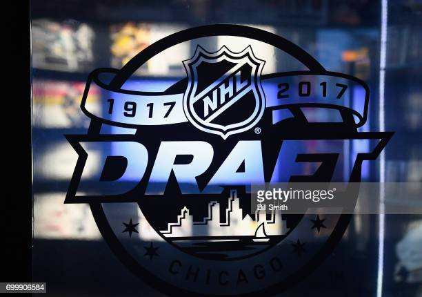 Signage for the 2017 NHL Entry Draft is seen at the NHL Centennial Fan Arena on June 22 2017 in Chicago Illinois