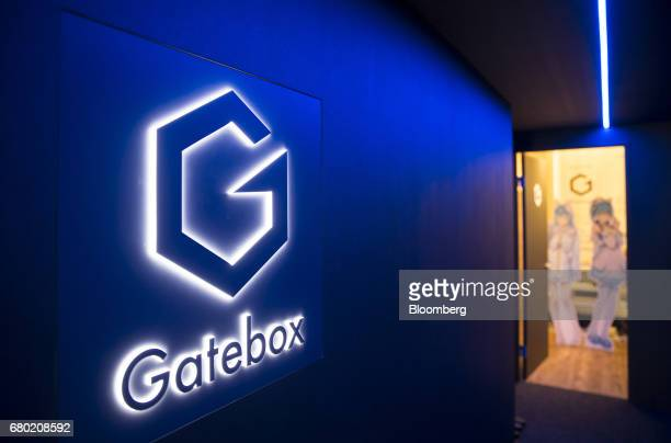 Signage for the Gatebox virtual home robot is seen inside the Vinclu Inc office in Tokyo Japan on Tuesday April 4 2017 While Amazoncom Inc and Google...