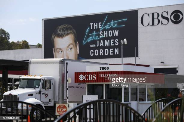 Signage for 'The Late Late Show with James Corden' is displayed at the CBS Corp Television City studio complex in Los Angeles California US on...