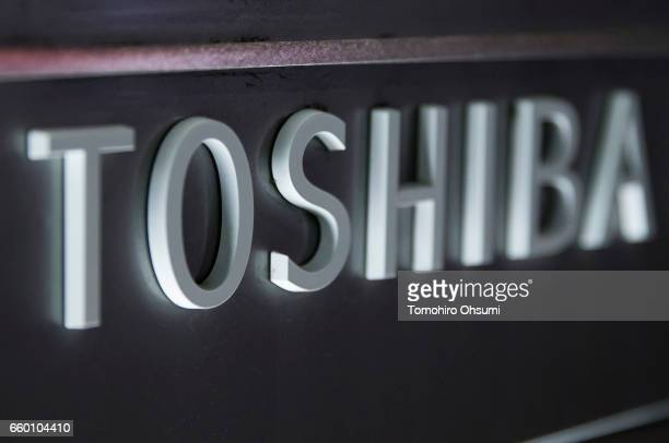 Signage for the Toshiba Corp headquarters is seen at night on March 29 2017 in Tokyo Japan Toshiba announced that its US nuclear unit Westinghouse...