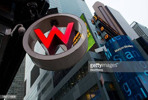 Signage for the W Hotel New York Times Square a Starwood Hotels Resorts Worldwide Inc property is displayed in New York US on Wednesday Oct 23 2013...