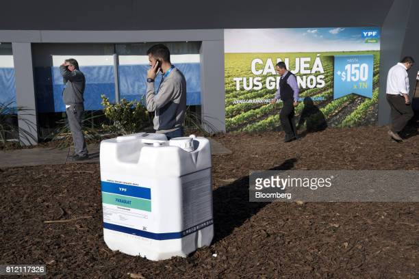 YPF SA signage hangs on display during the AgroActiva fair in Armstrong Santa Fe Argentina on Thursday June 1 2017 YPF SA the staterun oil company is...