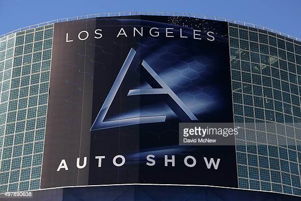 Signage hangs on the South Hall of the Los Angeles Convention Center at the 2015 Los Angeles Auto Show on November 19 2015 in Los Angeles California...
