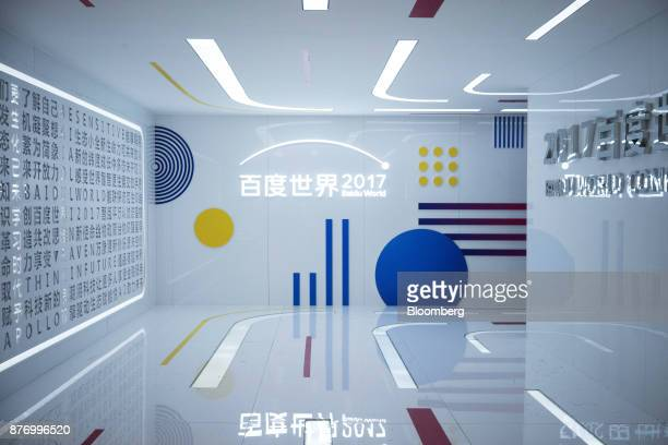 Signage is displayed at the Baidu World Technology Conference in Beijing China on Thursday Nov 16 2017 Baidu has unveiled a smart speaker designed to...